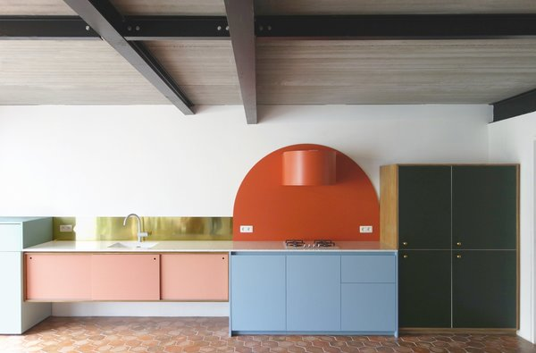 """We added a different finish to every function,"" explains Otten. ""In this way, we tried to suggest that the different parts of the kitchen are dating from different building periods and the construction had been growing continuously."""