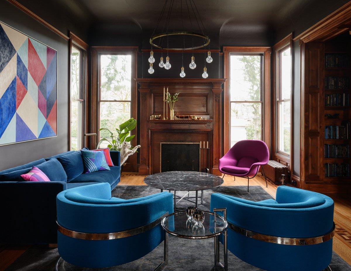 Jessica Helgerson Interior Design Southwest Hills Victorian living room Milo Baughman