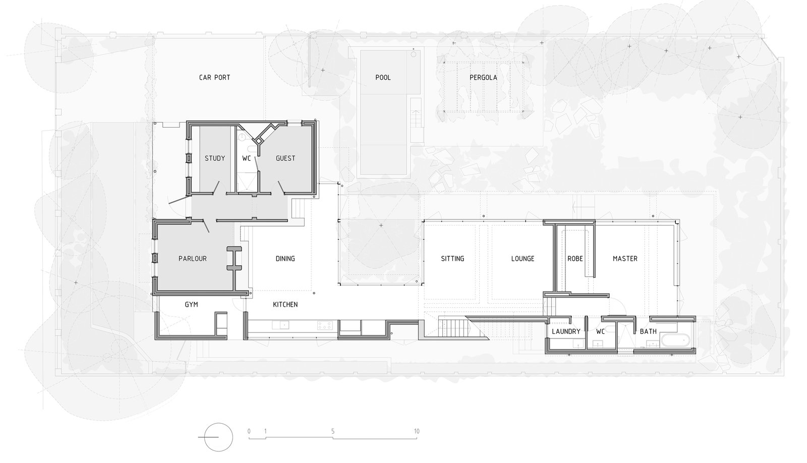 Floorplan of the Reed House- ground floor  Photo 18 of 19 in Two Sisters Work Together to Revive and Expand a Turn-of-the-Century Home in Perth