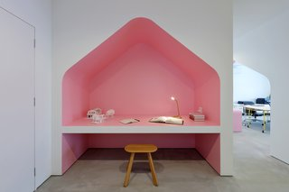 The pink desk nook references the cherry blossoms that bloom in Japan every spring.