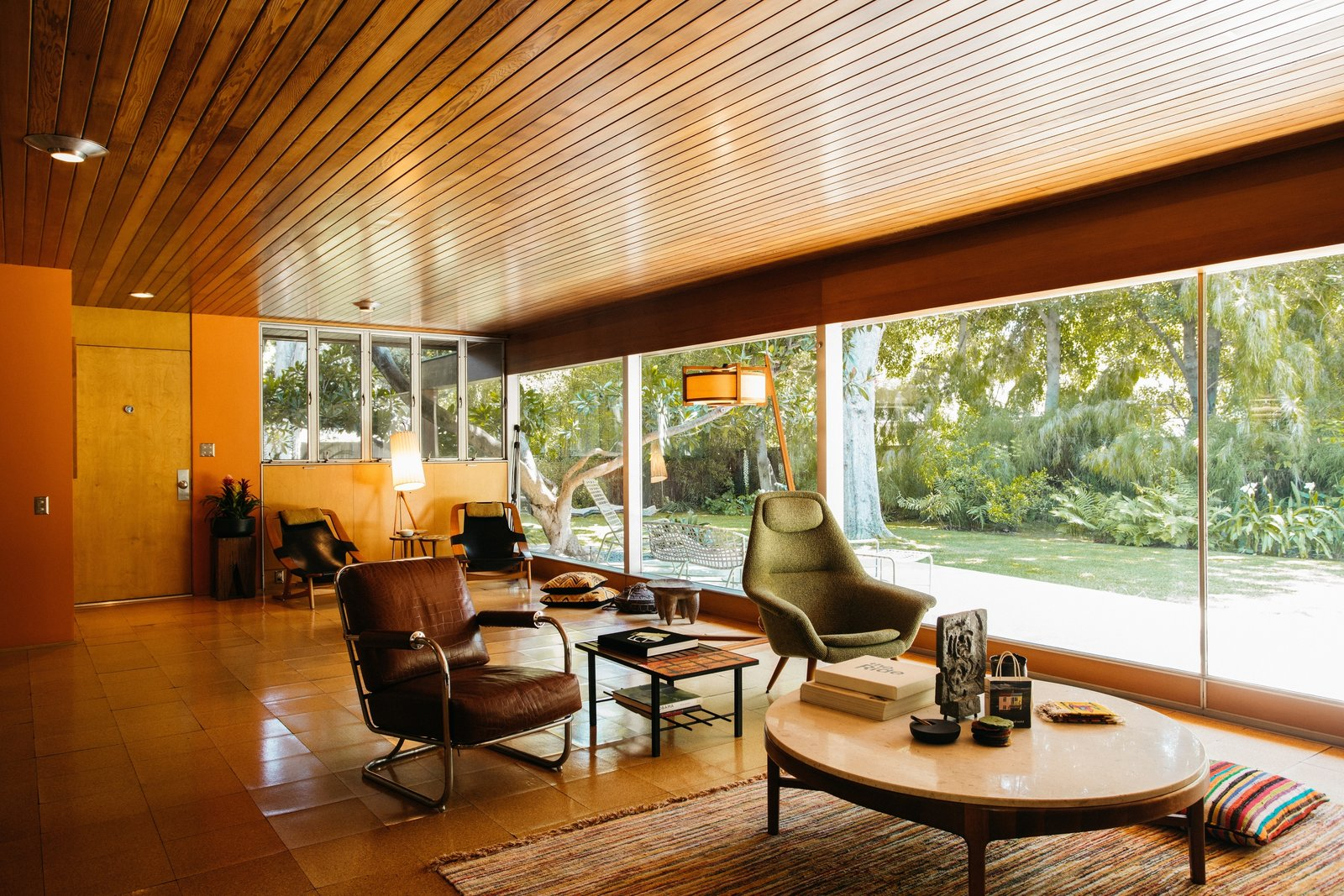 Richard Neutra Wilkins House Case Study House #13  living room tongue-and-groove
