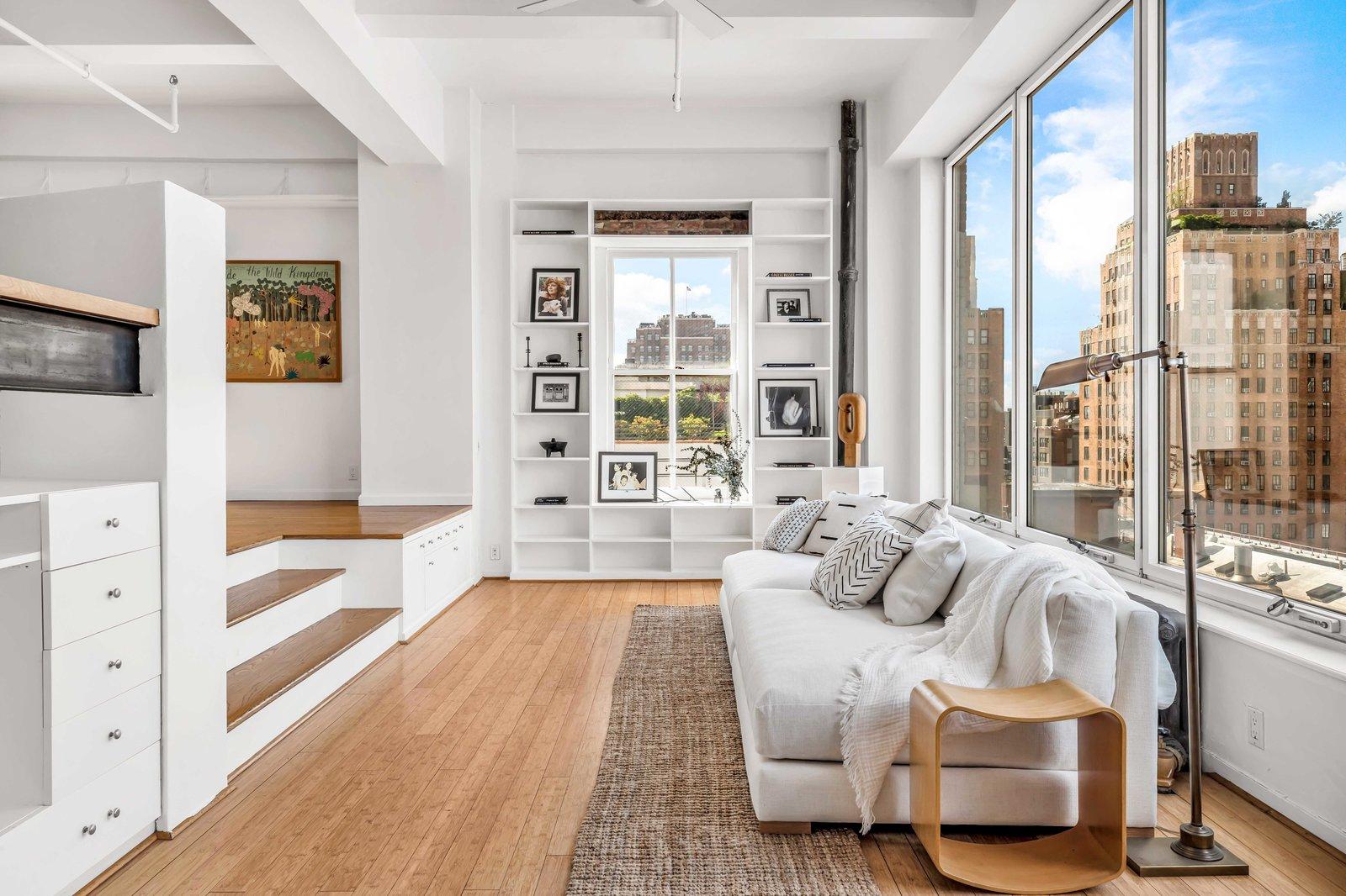 Lounge area in Susan Sarandon's Chelsea Duplex Loft