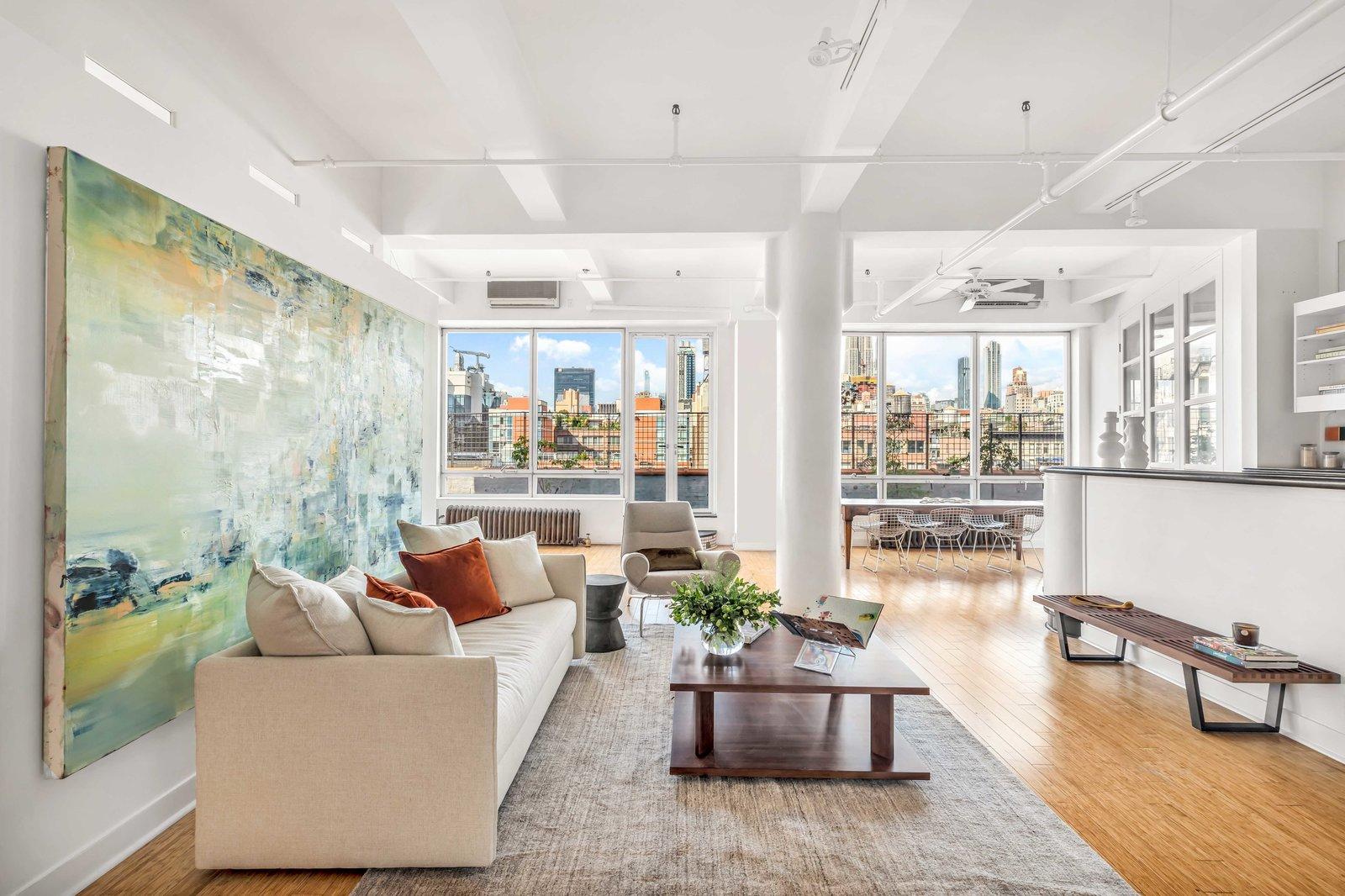 Living area in Susan Sarandon's Chelsea Duplex Loft