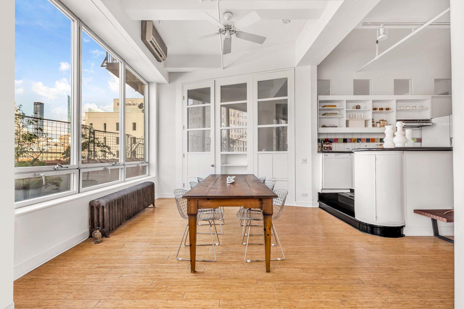 Dining area in Susan Sarandon's Chelsea Duplex Loft