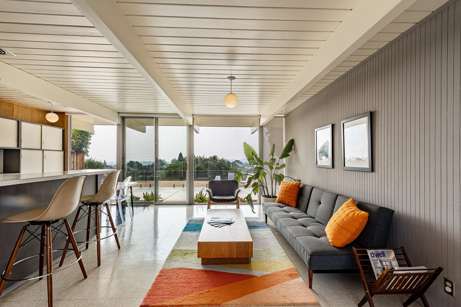 A. Quincy Jones Eichler Bay Area REal Estate globe pendant lgiht