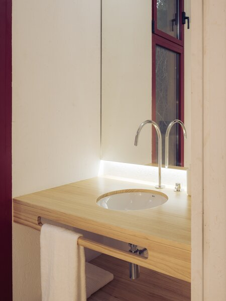 The bathroom was outfitted with a custom sink optimized for the tiny space.