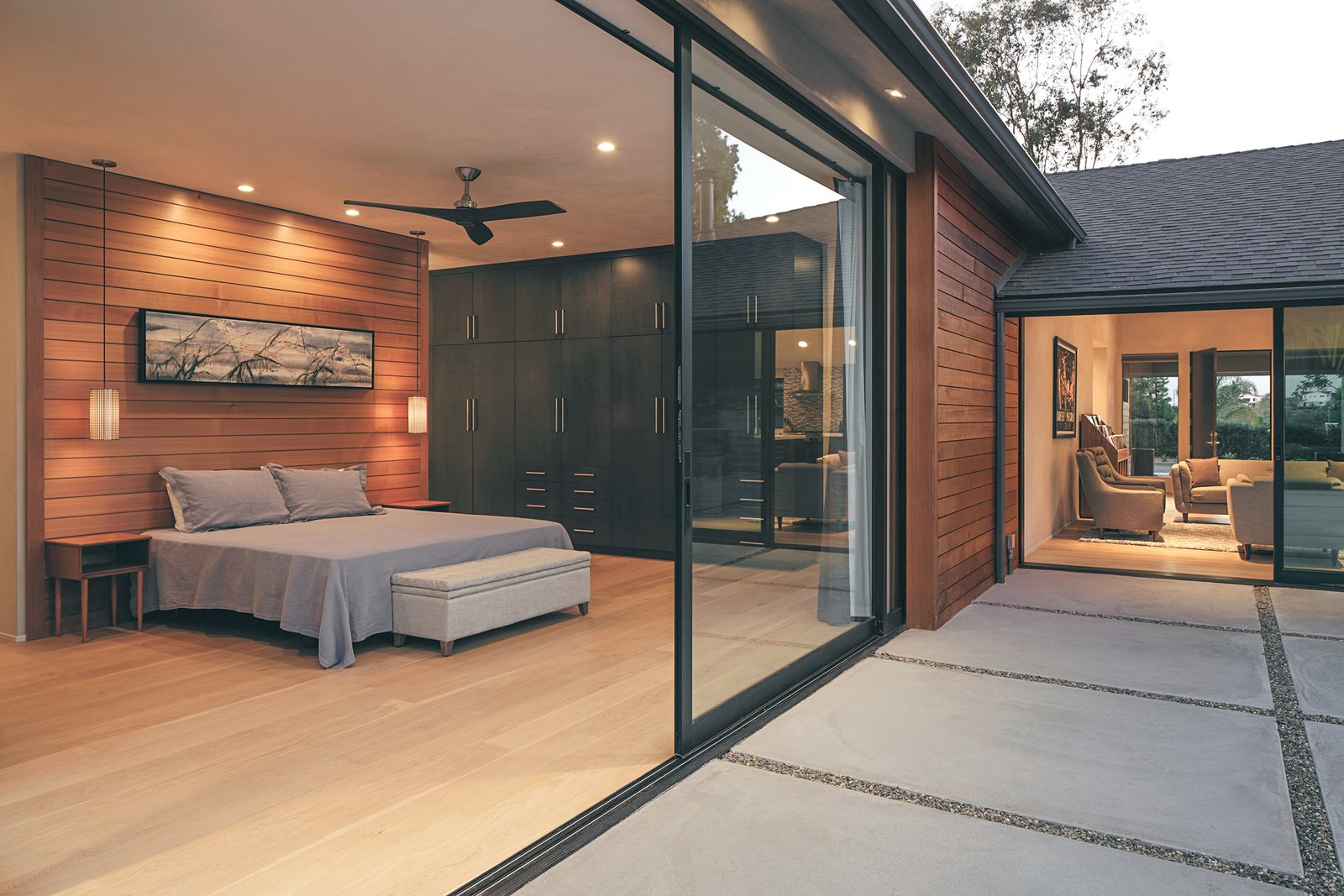 One of two massive pocketing Series 600 Multi-Slide Door in the master suite increase the residents' living space.  A Perfect Match