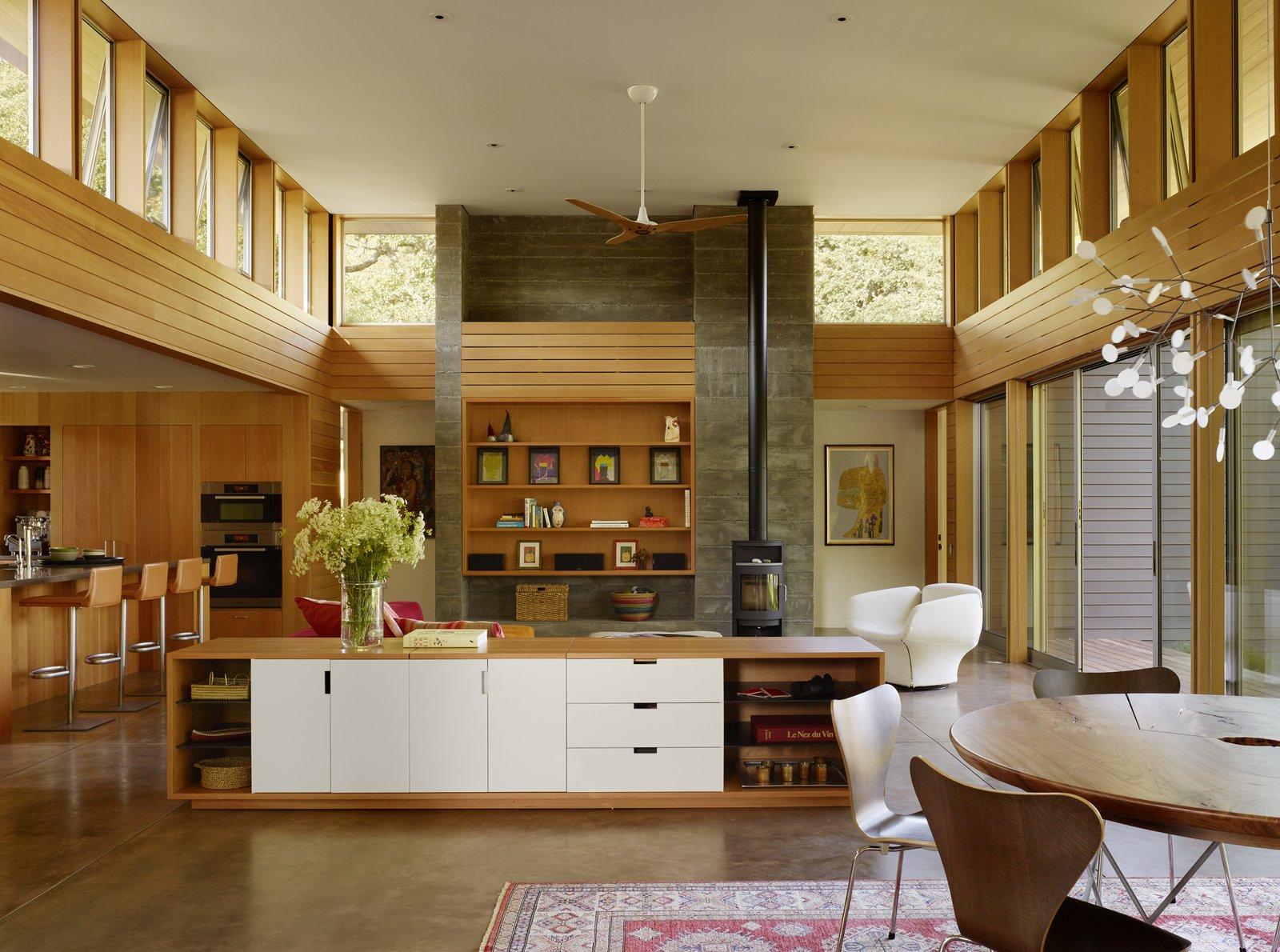 Kitchen and Concrete Floor #TurnbullGriffinHaesloop #interior #livingroom  #window  Sonoma Residence by Turnbull Griffin Haesloop Architects