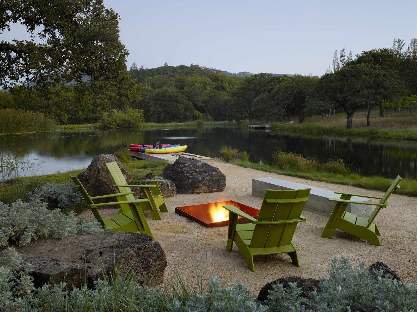 #TurnbullGriffinHaesloop #exterior #firepit #dock  Sonoma Residence by Turnbull Griffin Haesloop Architects
