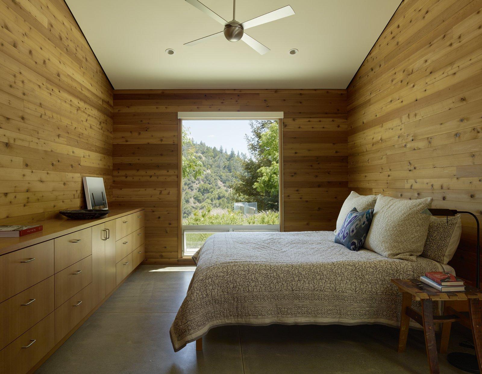 Bedroom, Bed, Night Stands, Storage, Recessed Lighting, and Concrete Floor #TurnbullGriffinHaesloop #interior #bedroom #window  Best Photos from Cloverdale Residence