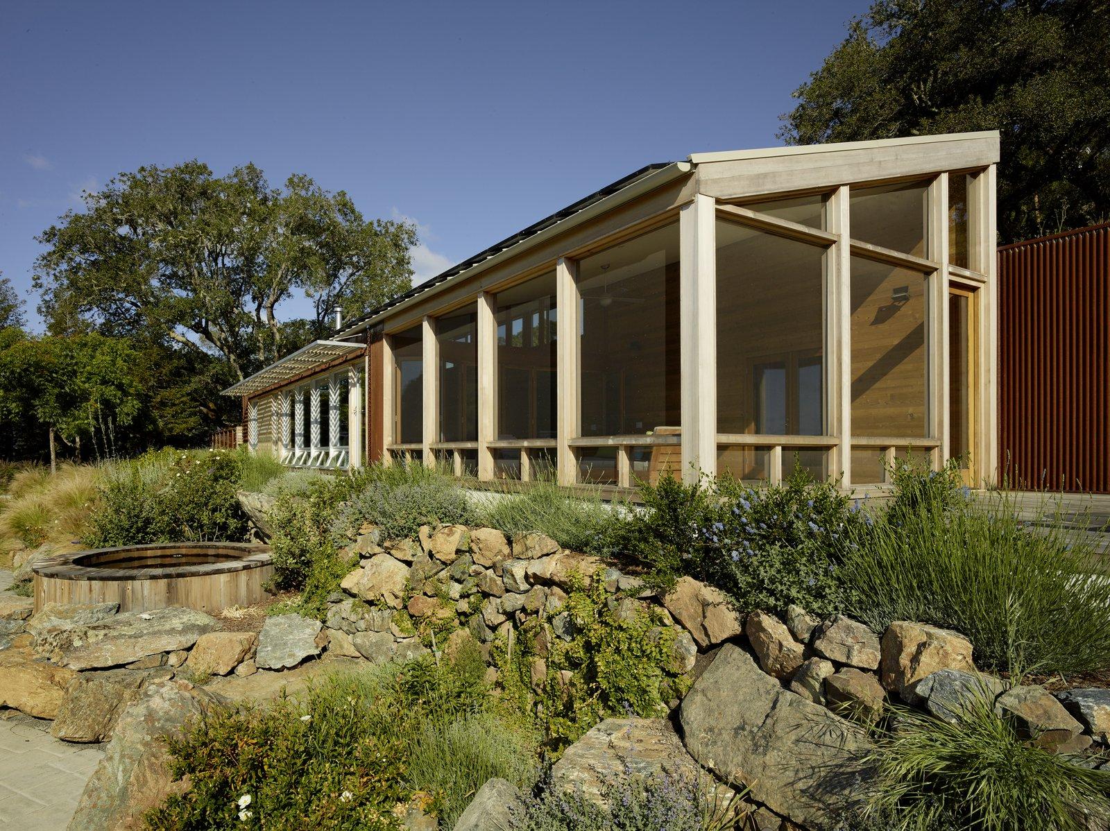 #TurnbullGriffinHaesloop #exterior #landscape #hottub #screenedporch  Cloverdale Residence by Turnbull Griffin Haesloop Architects