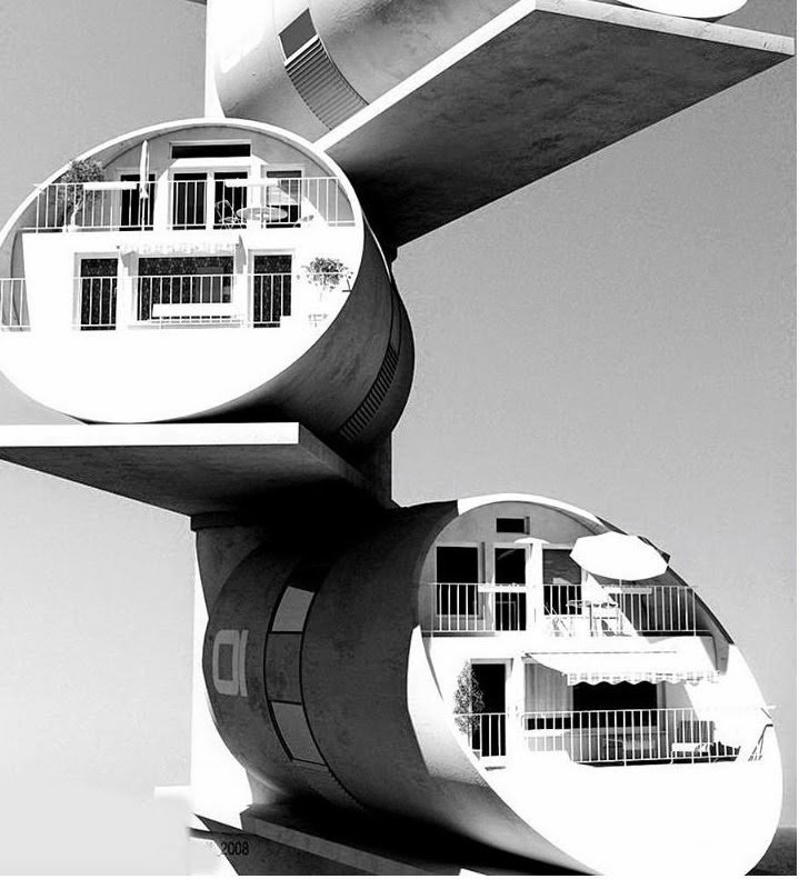 Guy Dessauges, cylinder houses  The Future was...