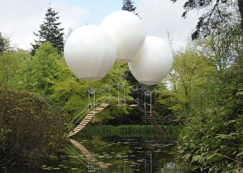 "Oliver Grossetête created Pont de Singe, which means ""monkey bridge"", for the Tatton Park Biennial, which this year was themed around flight.   Pneumatic Design"