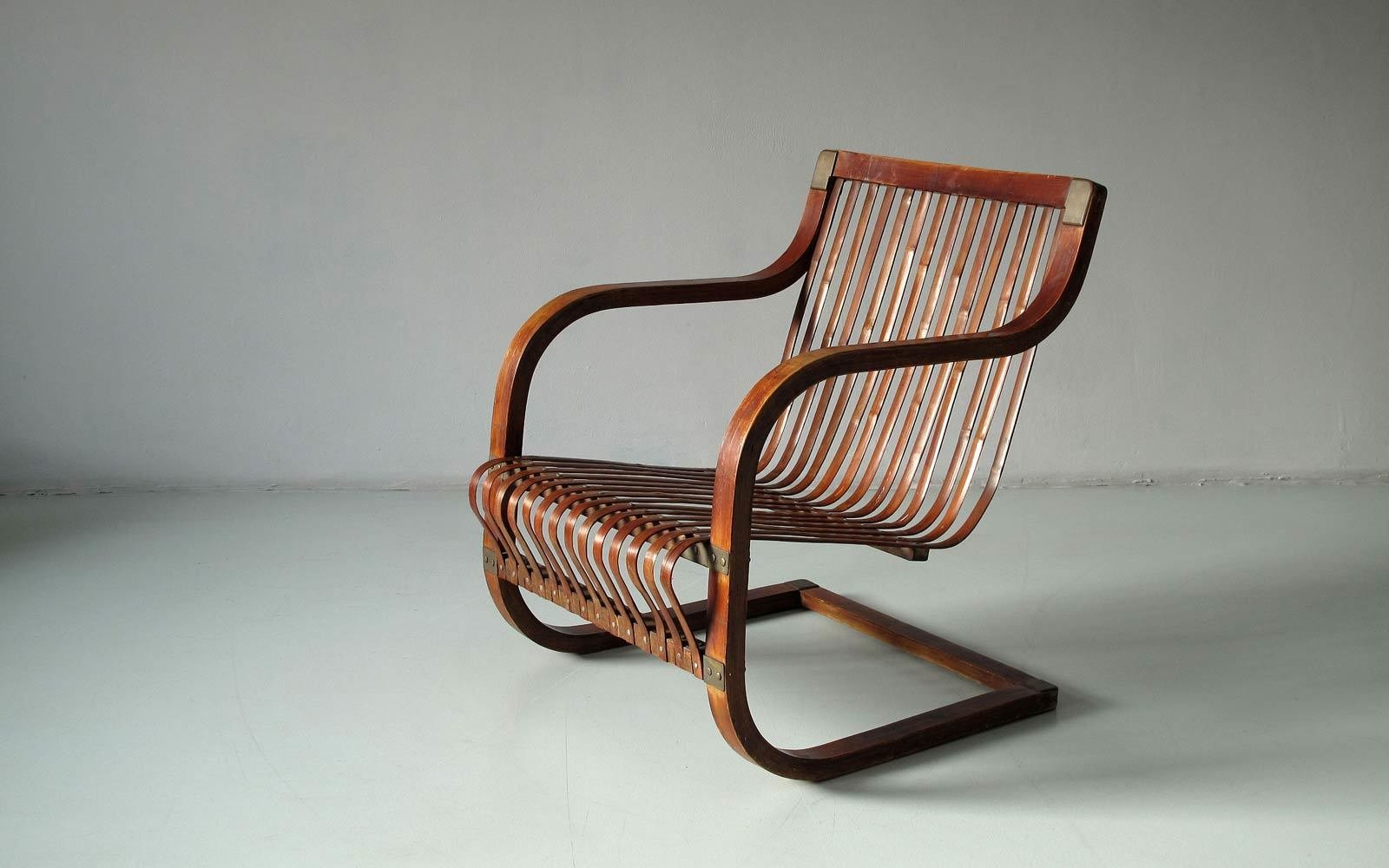 Cantilever chair for Takashimaya Department Store, Tokyo 1940s. Bamboo, oak, bronze.  Independent works of Charlotte Perriand