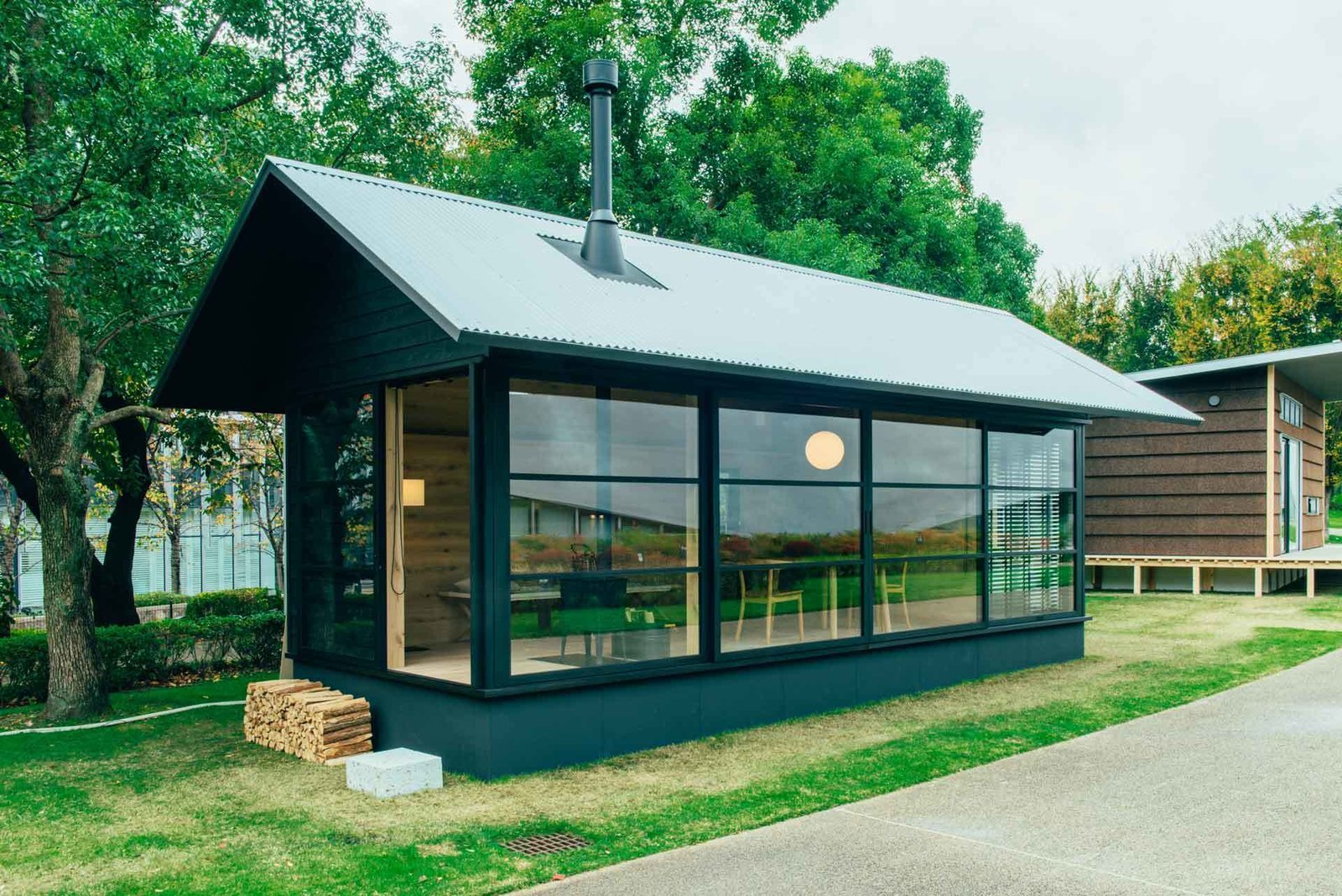 Muji's wooden pre-fab hut, made primarily of timber.  Beautiful Prefabs