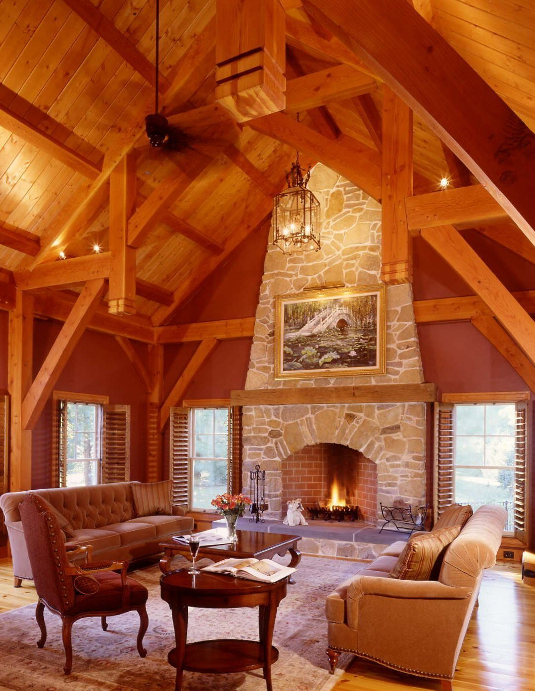 Custom Timberpeg Hammer Beam Truss in the Formal Great Room   Yellow Brook Farm House by Timberpeg