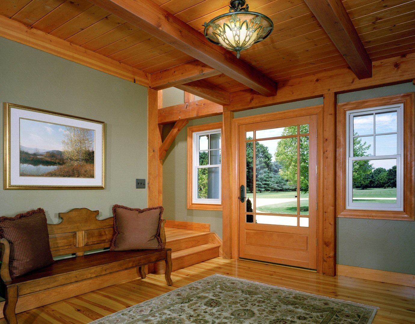 Timber Frame Foyer/Entry  Yellow Brook Farm House by Timberpeg