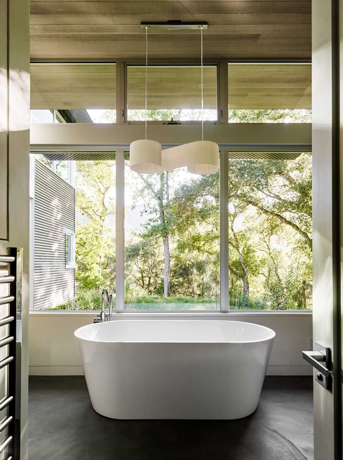 Bath Room, Freestanding Tub, Soaking Tub, and Pendant Lighting Ranch O|H  Photo 9 of 40 in 40 Modern Bathtubs That Soak In the View from Ranch O|H
