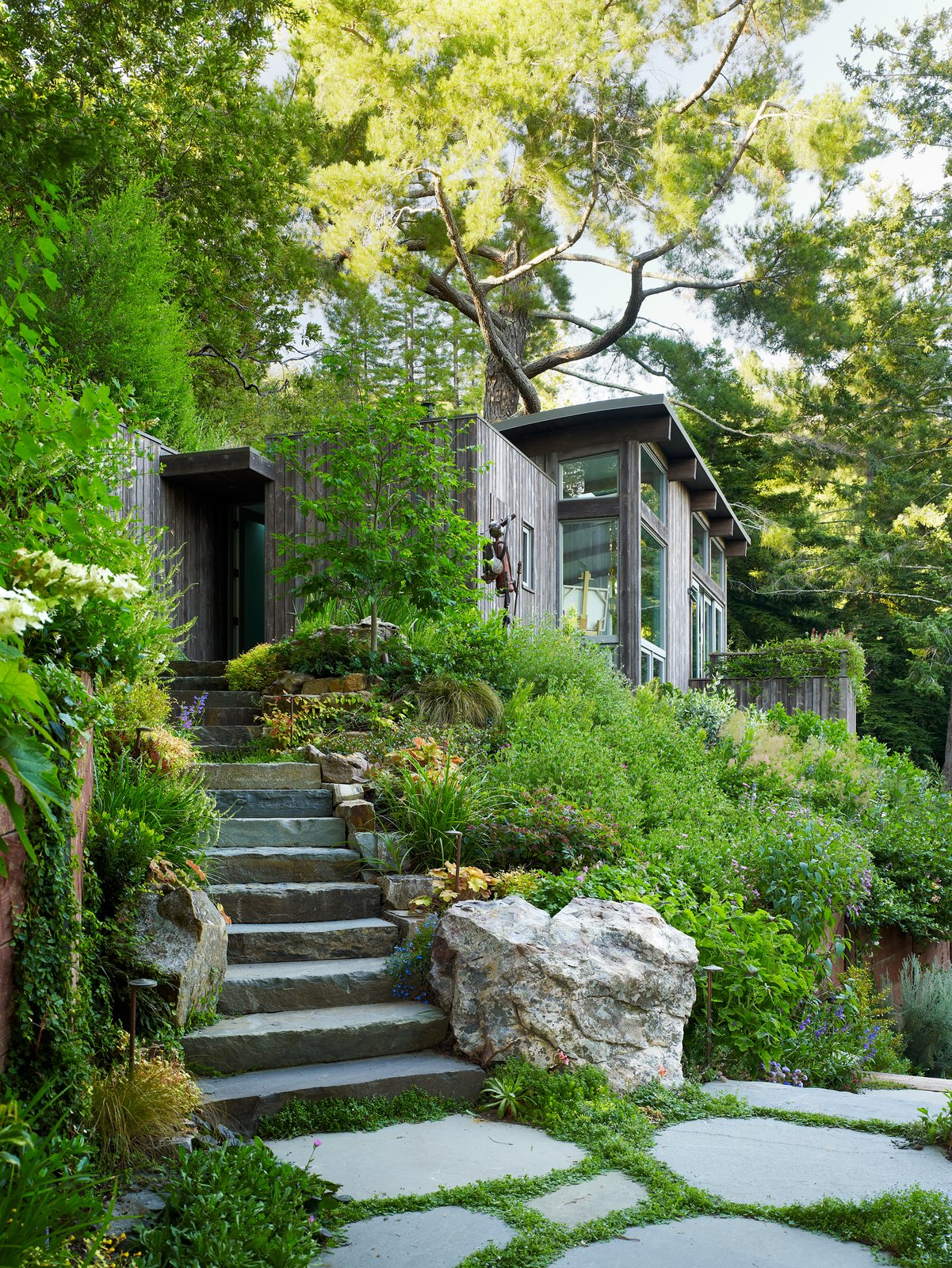 Outdoor, Shrubs, Woodland, Walkways, Side Yard, Gardens, Trees, Garden, and Boulders Large columns and shear walls offer the structural support needed to mitigate minor earthquakes.     Outdoor Shrubs Garden Woodland Photos from Mill Valley Cabins