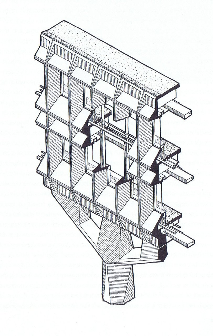 Marcel Breuer's detail drawing for a section of the IBM Research Complex in La Gaude, France.  marcel breuer from architectural drawings