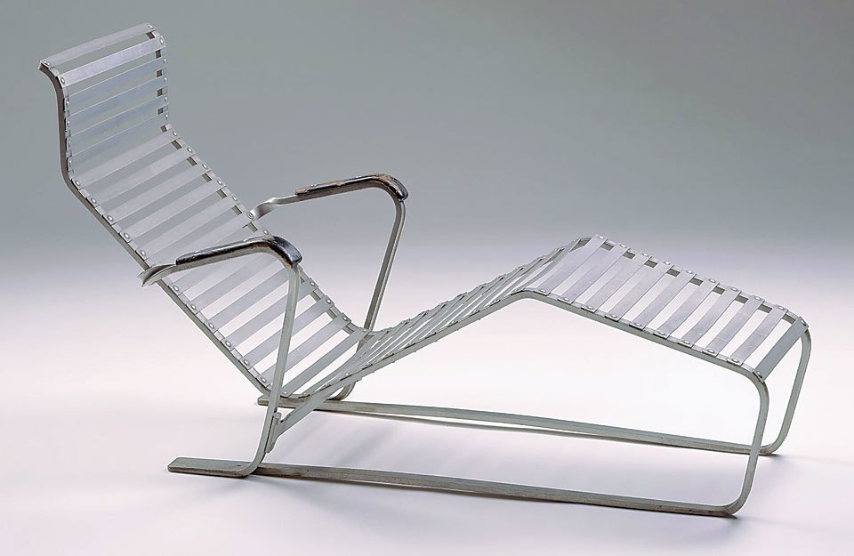 Lounge chair, ca. 1932, Marcel Breuer (German, b. Hungary, 1902-1981). Produced by Embru Werke (Rüti, Switzerland, founded 1904). Aluminum and painted wood. Milwaukee Art Museum; gift of Friends of Art. M1992.241. Photography Larry Sanders.  lounge chairs