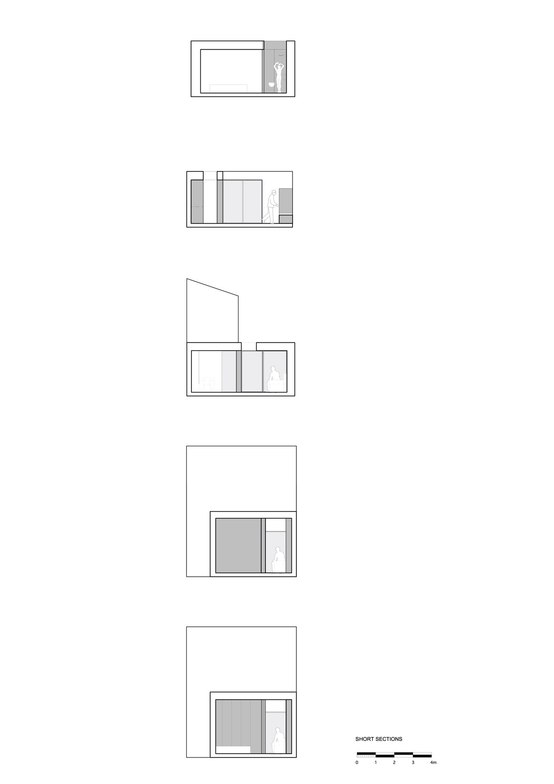 As one moves from the front to the back of the scheme, one experiences the compression and expansion of space vertically and horizontally.  Unité de Rénovation