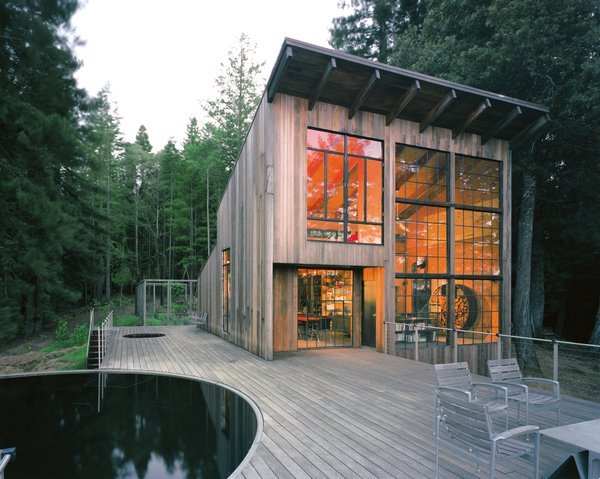 San Francisco firm Lundberg Design built this cabin out of reclaimed materials, including the exterior redwood, which has aged into an elegant, ashen gray. In a past life, the pool acted as a water tank for livestock.