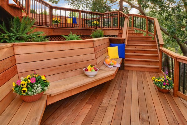 As a structurally sound material, redwood is ideal for both indoor and outdoor projects. Less prone to shrinkage or swelling than other woods, redwood lumber lasts 25 to 35 years with minimal maintenance, and over 100 years when used inside. Redwood is resistant to insects, fire, and rot, adding durability to structures that need to brave the elements. In the summer months, it stays cool enough for bare feet.  Photo 3 of 7 in Beauty and Brains: Building Sustainably With Redwood