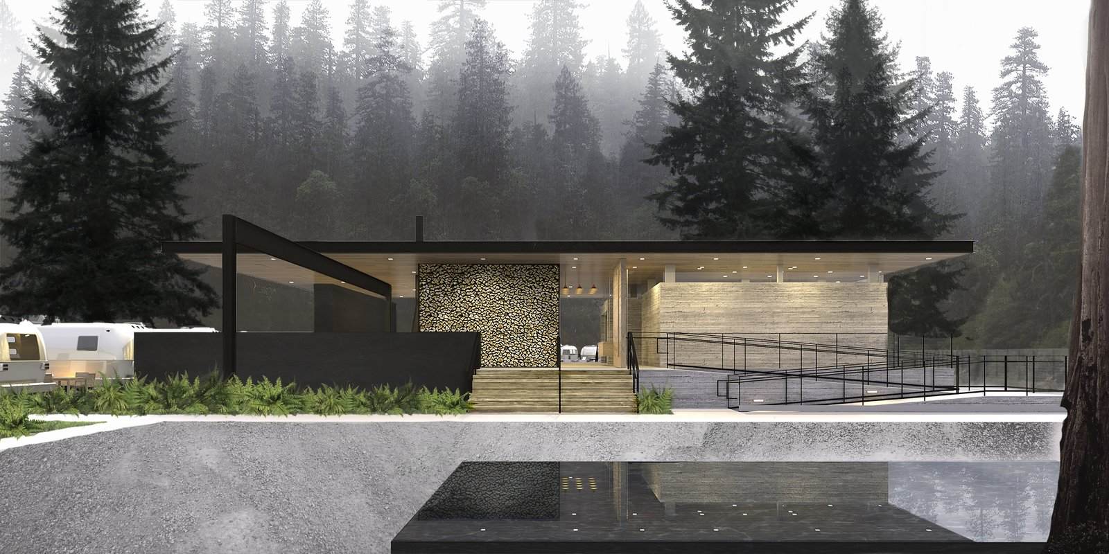 ANACAPA architecture designed a communal pavilion for AutoCamp Russian River, a boutique camping experience featuring classic Airstreams.  Photo 9 of 10 in 5 Essential Design Tools to Visualize Your Next Project from AutoCamp's Modern Clubhouse Emerges from the Russian River Redwoods
