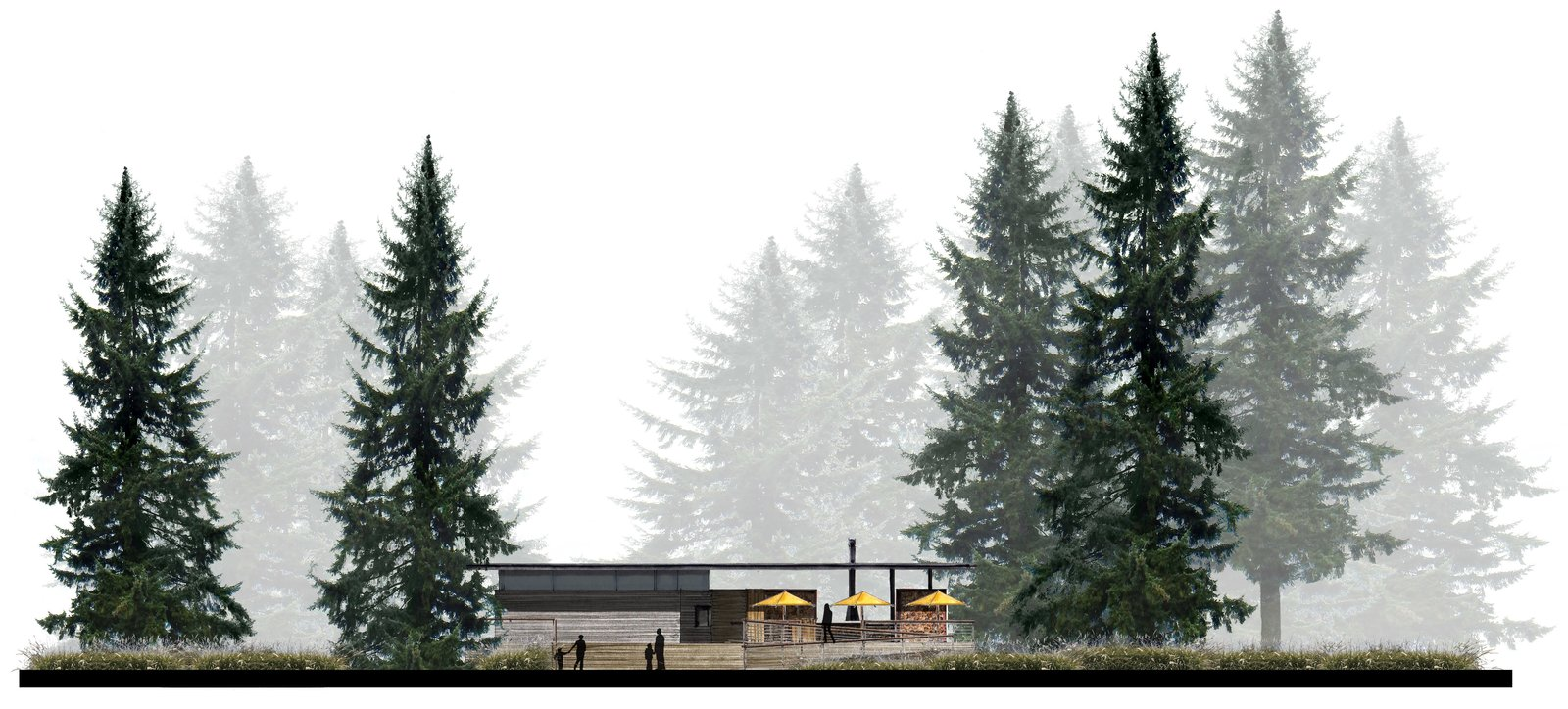 Behind the patio umbrellas dotting the west elevation, a suspended steel fireplace creates an inviting environment.  Photo 6 of 7 in AutoCamp's Modern Clubhouse Emerges from the Russian River Redwoods