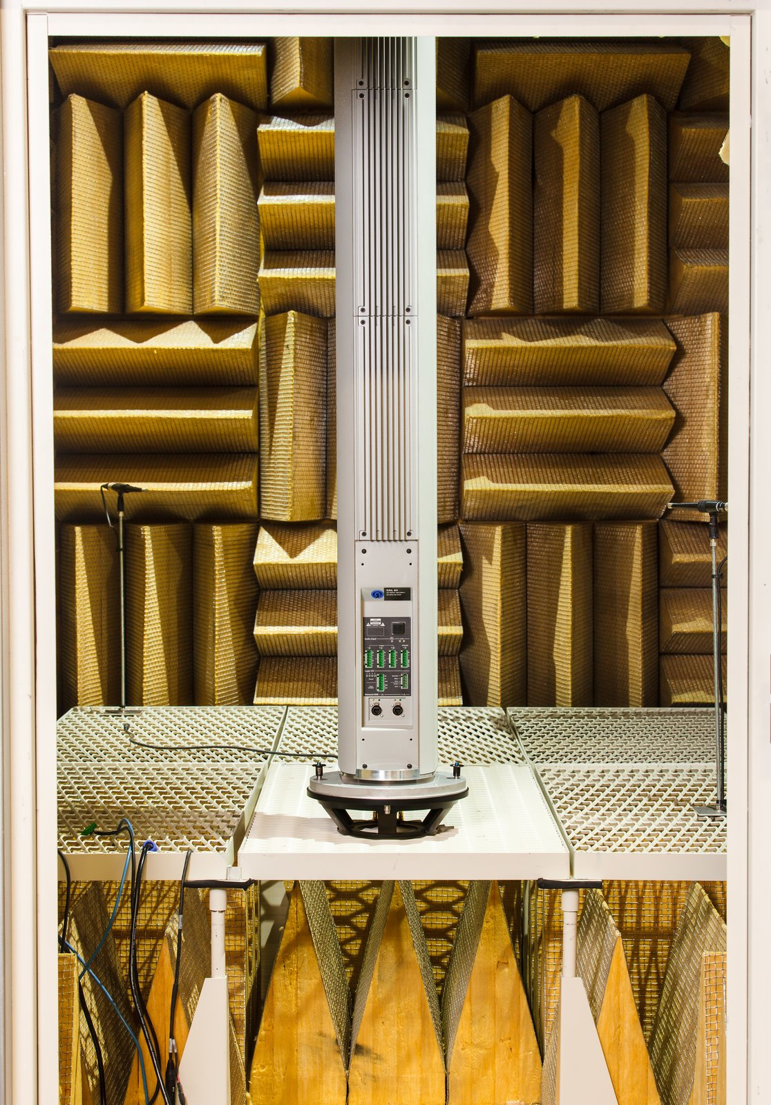 A finished CAL column array loudspeaker is tested in an anechoic chamber.  Photo 6 of 6 in Sound Design for a Bustling San Francisco Restaurant