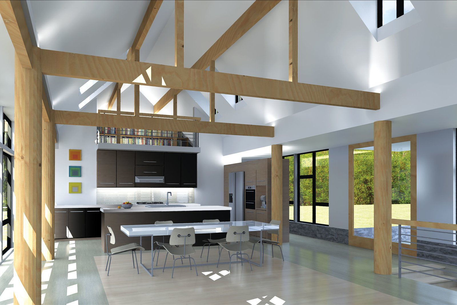 A rendering illustrates the loft, which the homeowners plan to use as a reading room, overlooking the living area. Keeping things contemporary, they have chosen white countertops, black cabinetry, and stainless steel appliances for the kitchen.  The wooden supports have been swapped out for black steel poles.  Photo 1 of 5 in Paint it Black: One Couple's Journey to Minimalism
