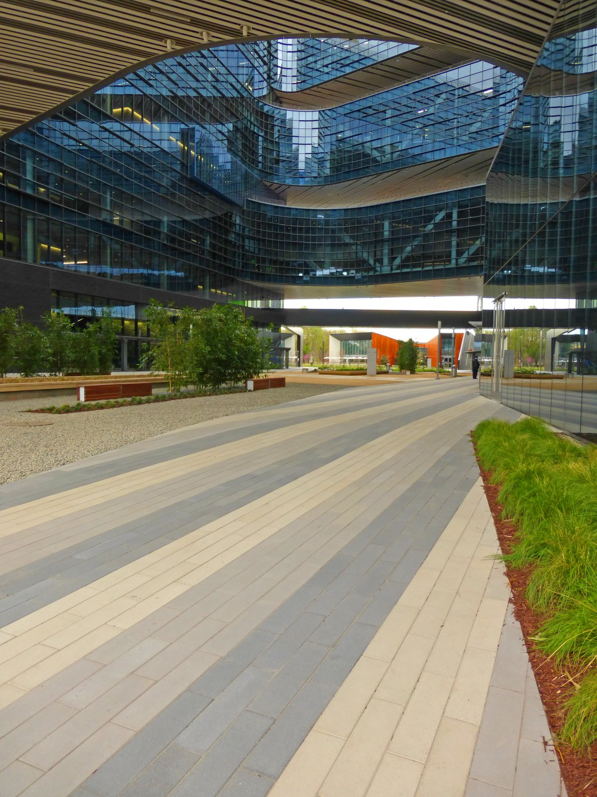 Samsung's headquarters in San Jose, California are paved with large CalArc pavers in a gray and yellow palette.  Photo 3 of 7 in Setting Creative Solutions in Stone