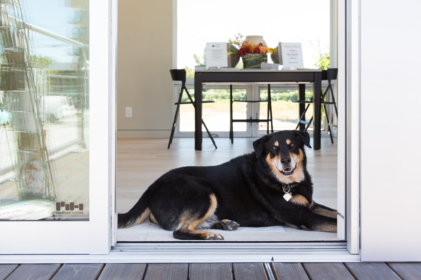 Doors, Sliding Door Type, and Metal Even furry guests felt right at home.  Photo 8 of 16 in Make the Dwell Prefab Your New Home For $90K from Monogram Modern Home Shows Some Southern Hospitality