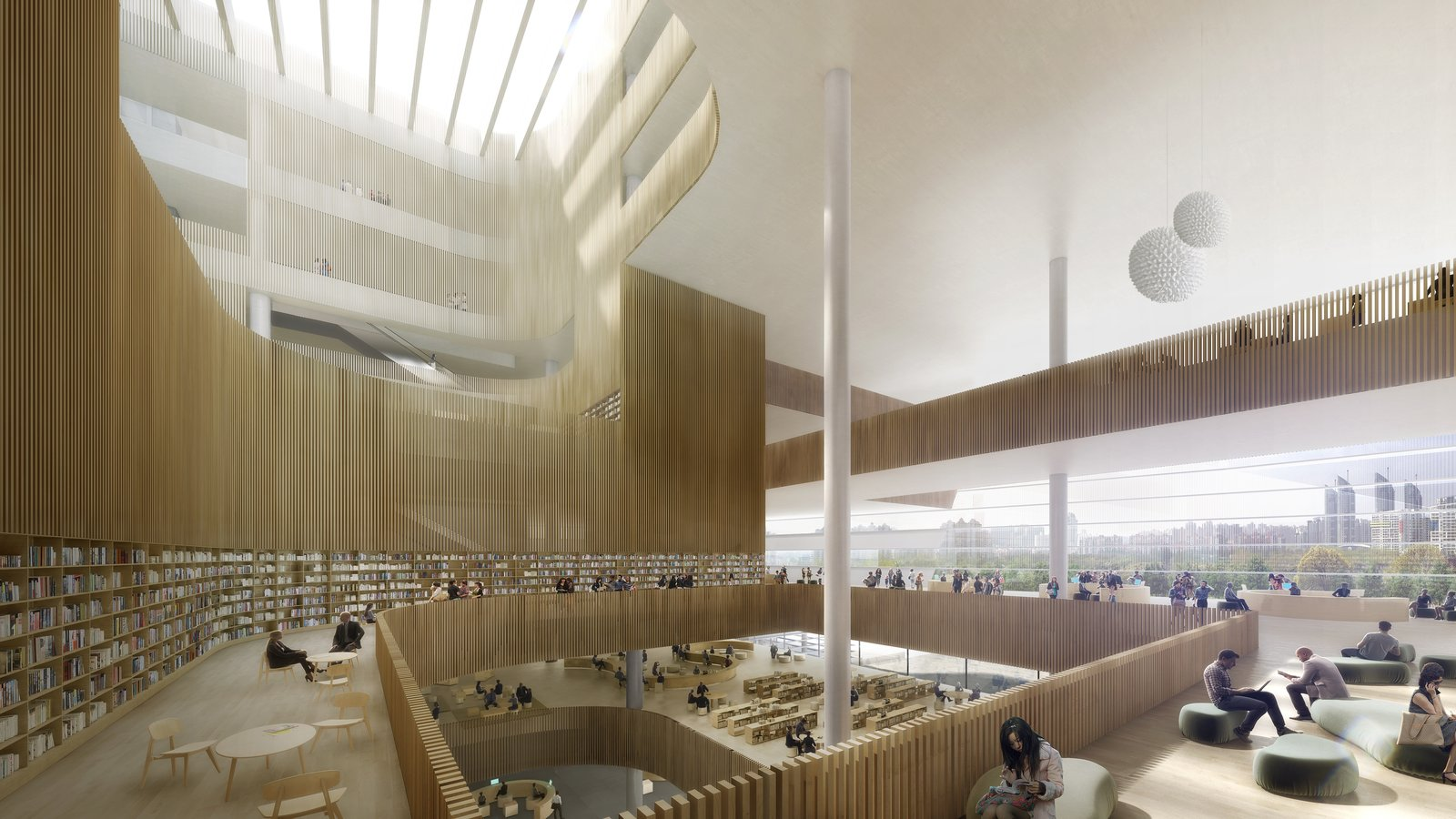 Three staggered reading rooms form a grand central atrium, creating intersecting spaces that encourage visitors to explore in a balance between inward and outward focus.  Photo 4 of 8 in Schmidt Hammer Lassen Architects' Winning Design For the Shanghai Library