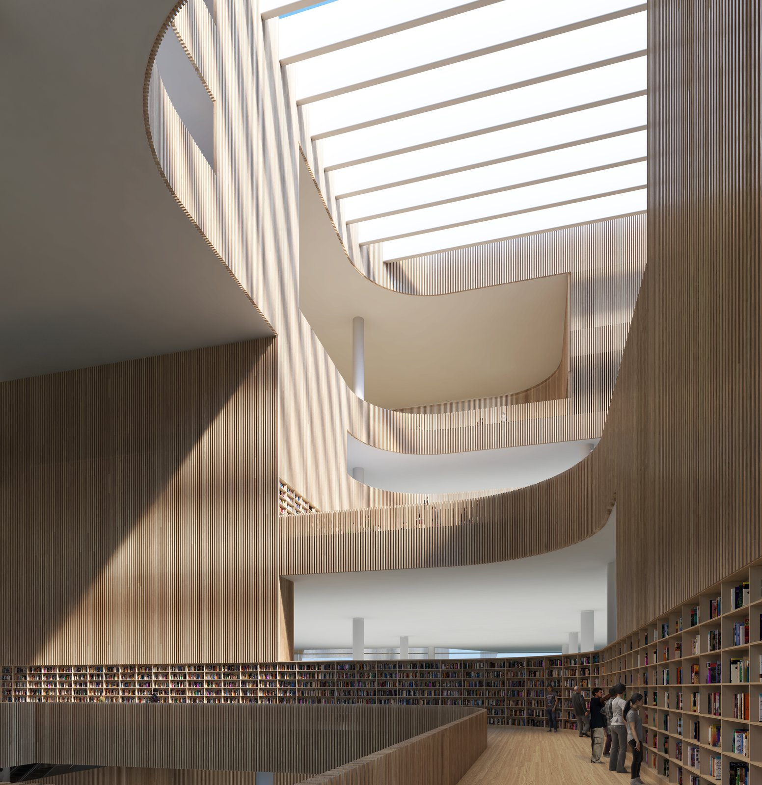 The wooden slats that line the central atrium are of varying transparency:  Photo 5 of 8 in Schmidt Hammer Lassen Architects' Winning Design For the Shanghai Library