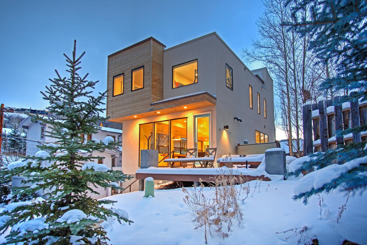 The building exterior incorporates stucco, cedar, Cor-Ten steel, and concrete for a balance of industrial and warm elements that isn't often seen in Park City.  Photo 2 of 9 in Be at Home With Park City's Slopes For $1.6M
