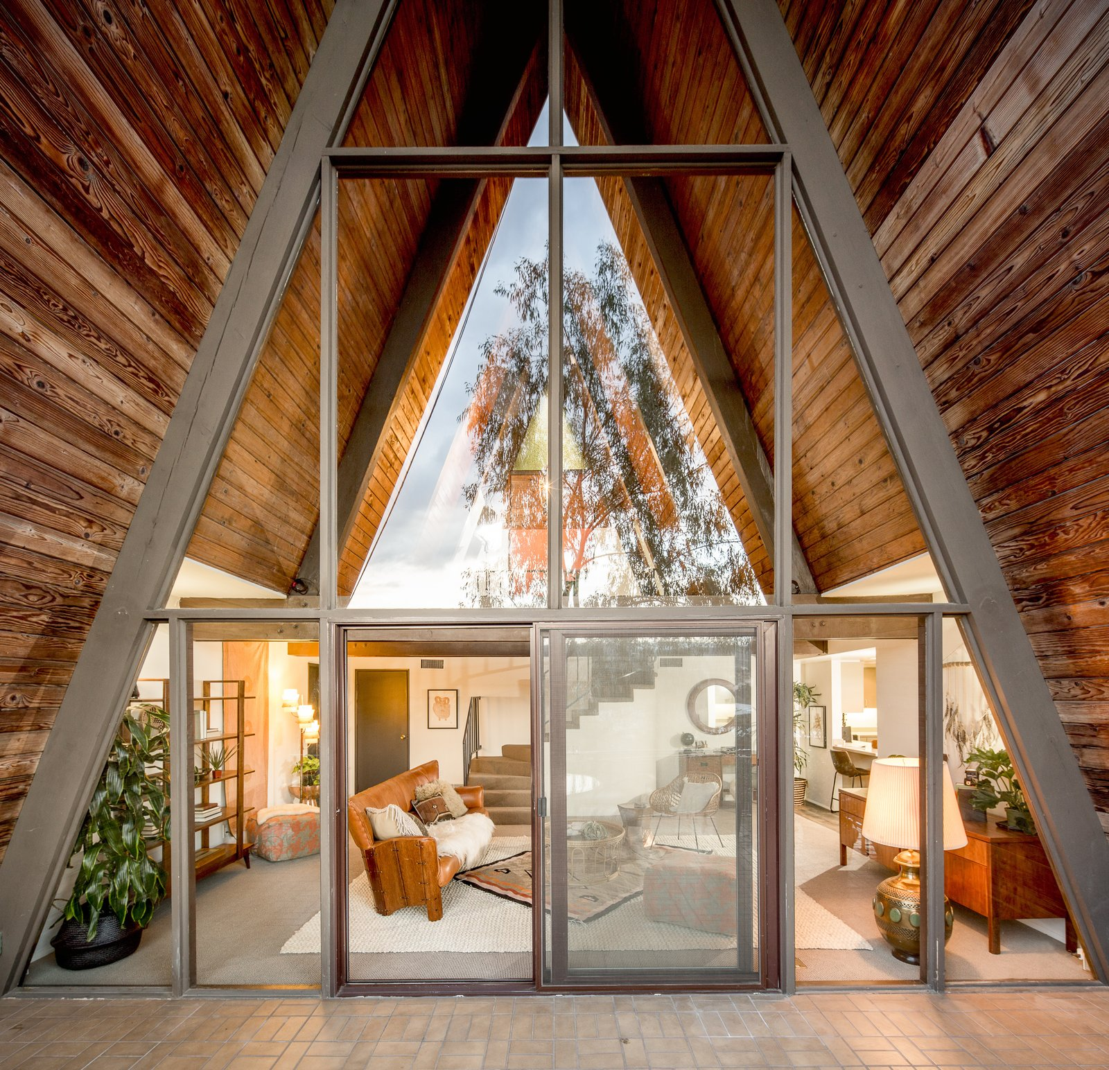 For musicians, the home's structure is a boon, as the A-shape makes for great acoustics.  Photo 7 of 10 in A Modified A-Frame Overlooking Los Angeles Starts at $699K
