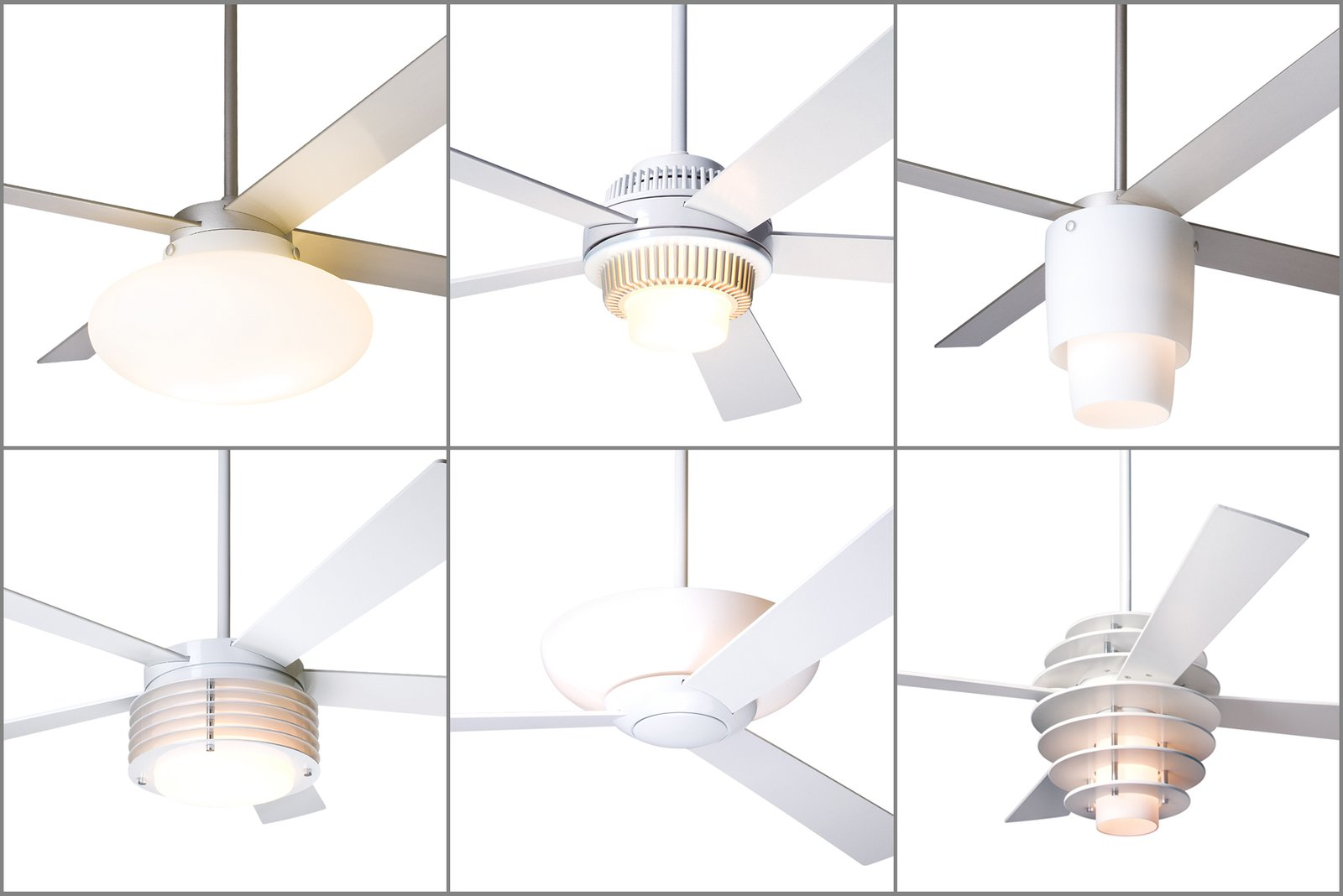 From left to right, top to bottom: the Cloud, Solus, Halo, Pharos, Aurora, and Stella fans with integral lights previously used halogen or compact fluorescent lamps, and are now available with LED lighting. Ceiling fans that come with optional light kits will have LED solutions, too.  Photo 8 of 8 in Taking Flight: A Dose of Brazilian Design Lifts the Ceiling Fan to New Heights