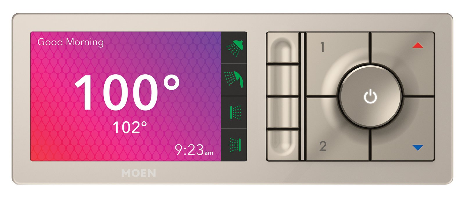 The shower valve allows temperatures between 60 and 120 degrees to ensure the user's safety. The screen changes on a gradient from light blue, dark blue, purple, orange, and red to reflect whether the water is heating up or cooling down, and when the correct temperature is reached, the background turns white. An on-screen notification and tone signals the user that the shower is ready. Users can adjust and save their settings directly on the controller using the preset buttons.  Photo 1 of 5 in Create Your Personal Oasis With U by Moen Shower