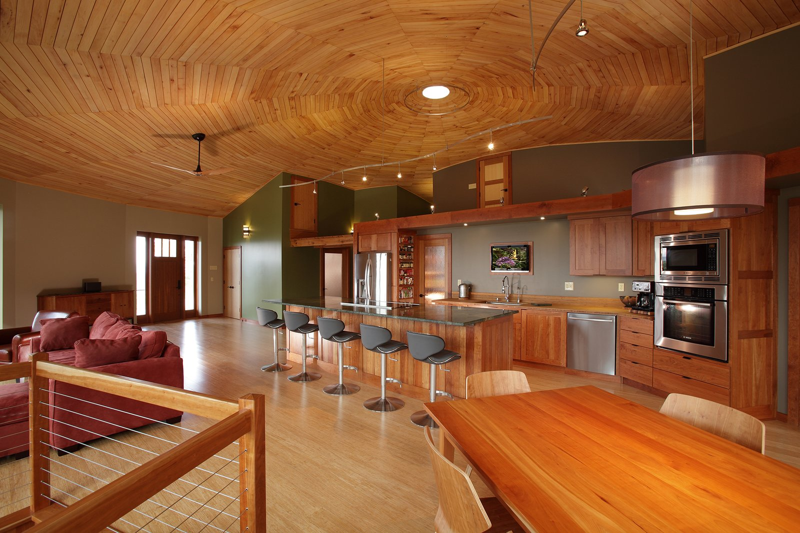 LED lighting and bamboo counters, interior doors, and flooring accentuate the home's green attributes.  Photo 2 of 7 in A Round Pennsylvania Prefab Offers 360-Degree Solutions in Sustainability
