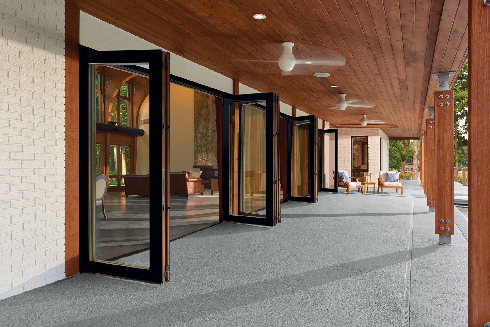 Marvin Ultimate Bi-Fold Doors are available in ample sizes and configurations with handsome, exclusive hardware finishes ranging from oil-rubbed bronze to antique brass.  Photo 3 of 6 in How to Set the Stage For Outdoor Living With Scenic Doors