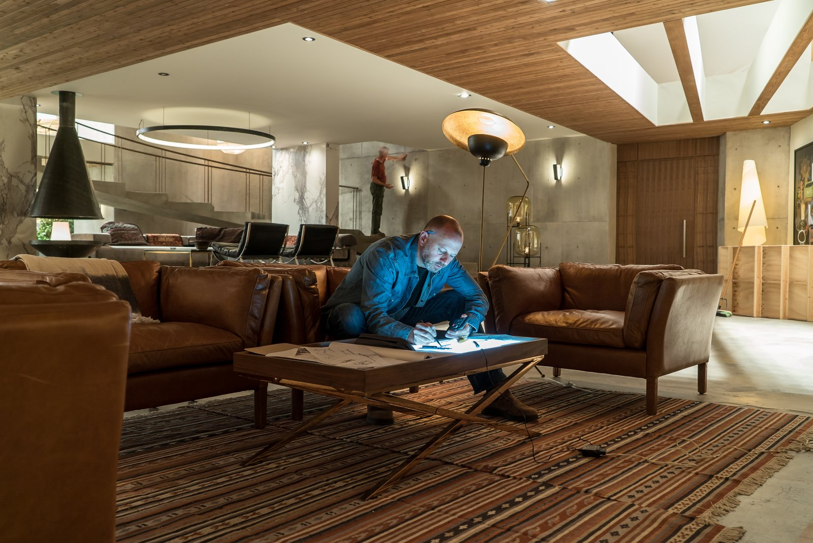 Real cedar planks line the ceilings. Novotny works in the  Photo 4 of 10 in Here's How Hollywood Builds a Malibu Dream Home—on a Vancouver Soundstage