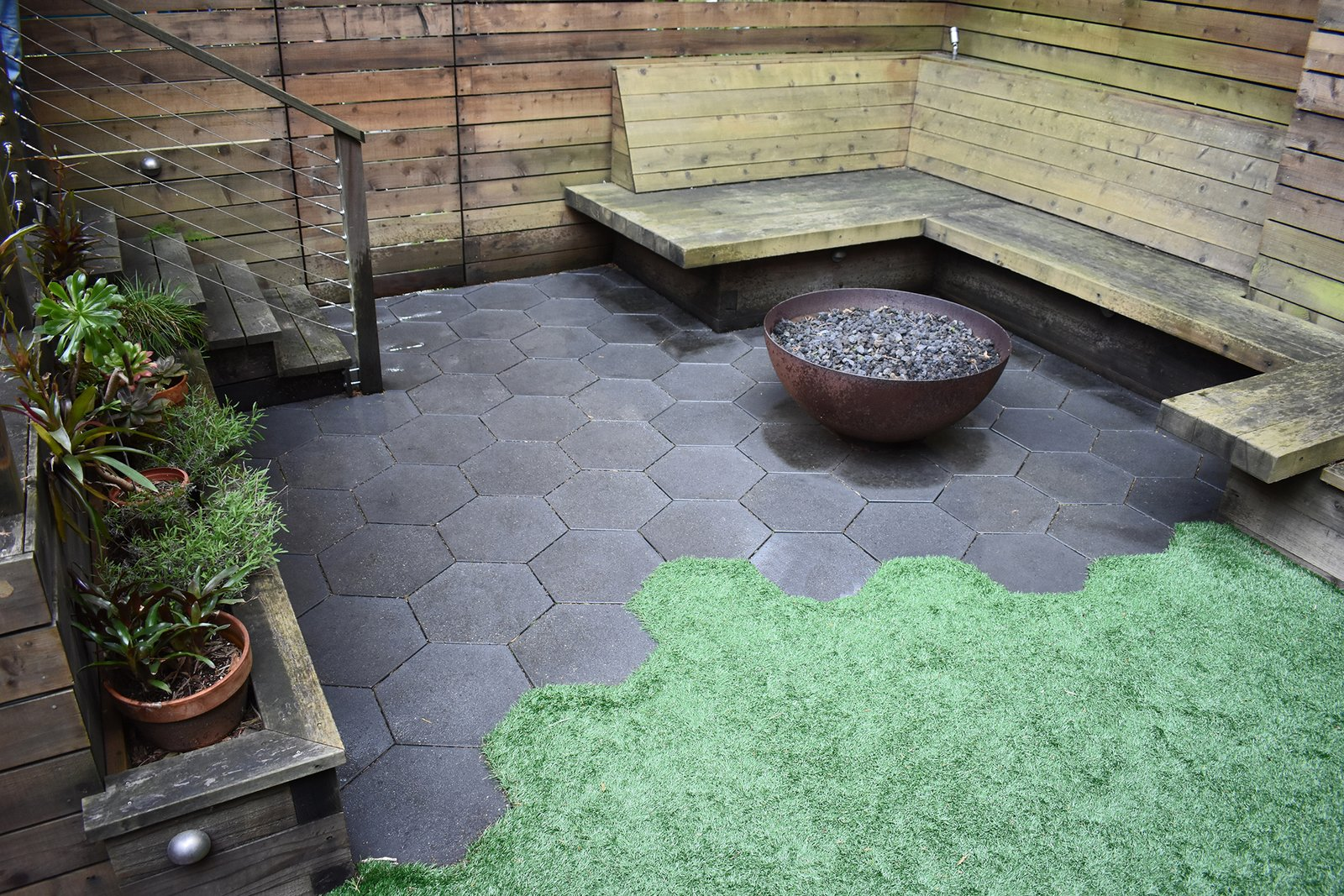 Hexagonal Pavers glisten in a drought-tolerant garden, creating a stunning contrast against the turf.  Photo 8 of 8 in Drawing the Line: Concrete Pavers That Advance Architectural Design
