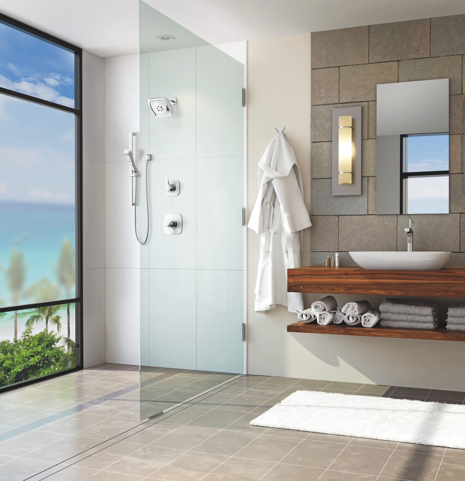 Bathroom with glass-enclosed full shower and vessel sink above floating wood countertops.