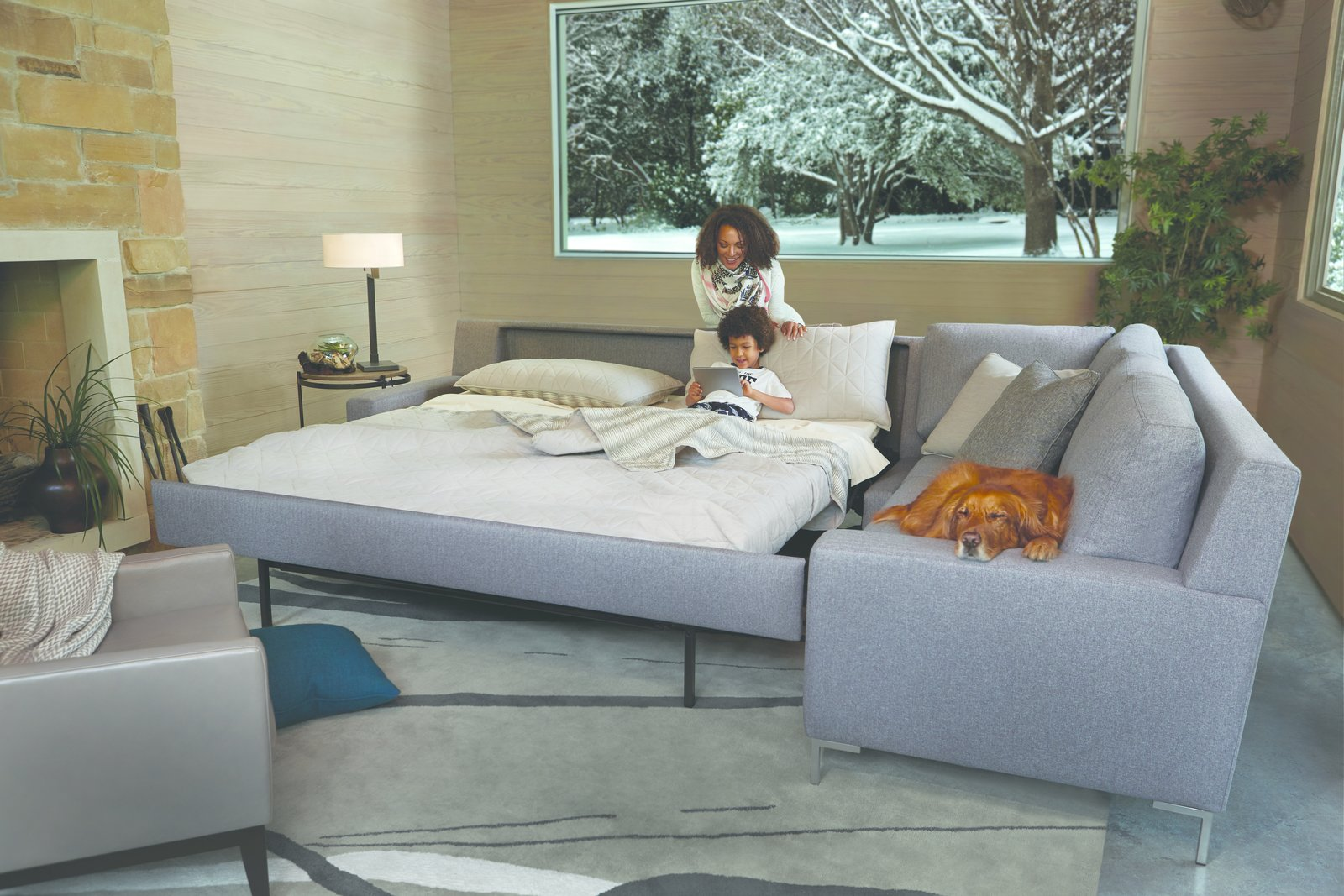 The Brynlee Comfort Sleeper® boasts structured track arms, boxed cushions, and higher legs that lend an air of elegance to the design.  Photo 7 of 7 in American Leather Breaks the Mold of Custom, High-End Furniture