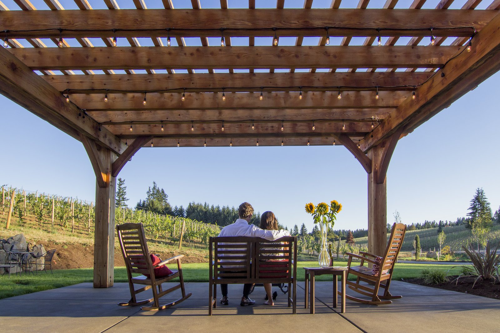 The Barrel House tasting room serves as a community center for Tumwater. The new pergola creates an outdoor room that can play host to wine tastings and private events.  Photo 2 of 7 in Sustainable Redwood Stars in an Oregon Architectural Showcase