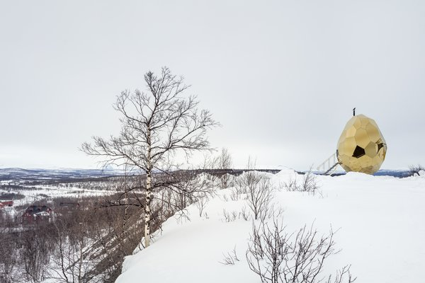 This egg-shaped sauna represents rebirth, as the city of Kiruna seeks a new beginning.