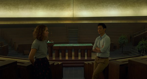 "Jin and Casey discuss the  Photo 8 of 8 in In the Indie Debut ""Columbus,"" Midcentury Architecture Stars Beside John Cho"