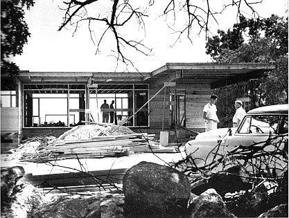 Historic Photo of house under construction  Mid-Century Modern renovation